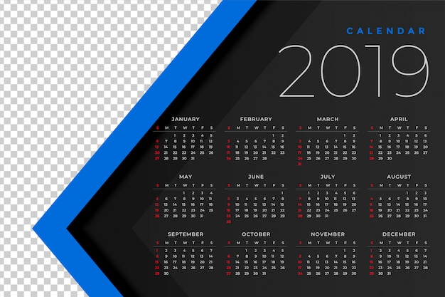 2019 calendar template with image space Free Vector