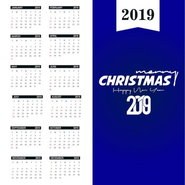 2019 calendar template Premium Vector