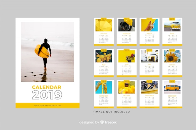 Modello di calendario 2019 Vettore gratuito