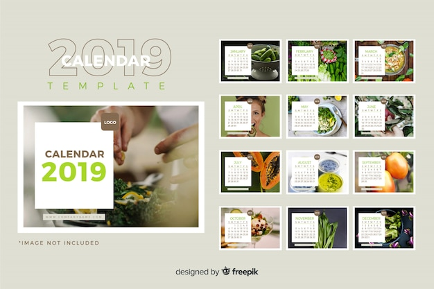 2019 calendar template Free Vector