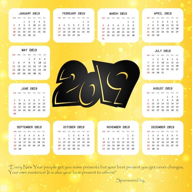 2019 calendar with creative design vector Free Vector