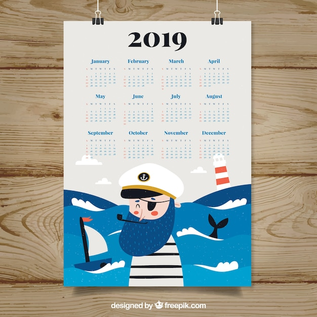 2019 calendar with a pirate Free Vector