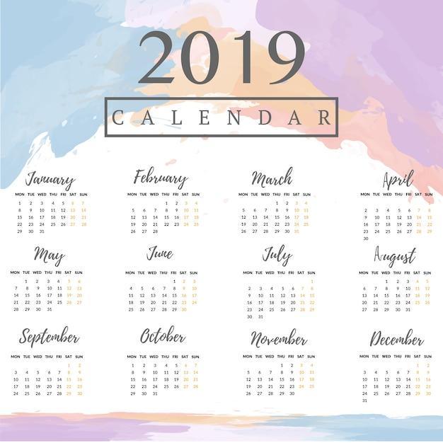 2019 Calendar With Watercolor Background Vector Premium