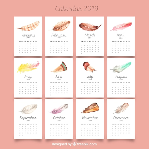 2019 calendar with watercolor feathers vector free download