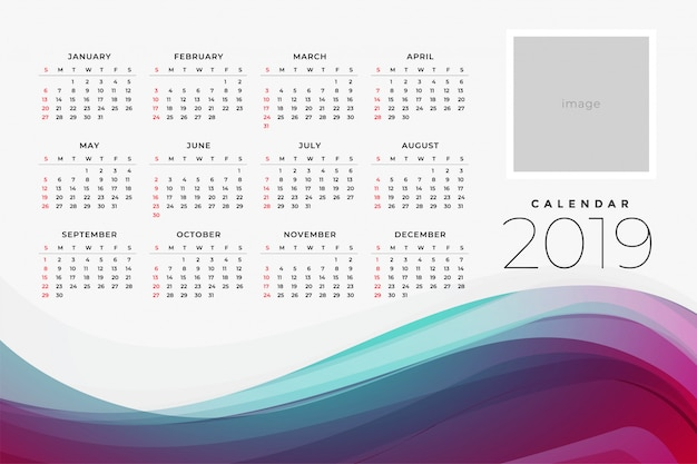 Template Calendrier 2019.2019 Calendar Of The Yar Design Template Vector Free Download