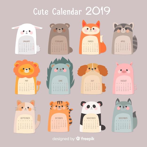 2019 calendar Free Vector