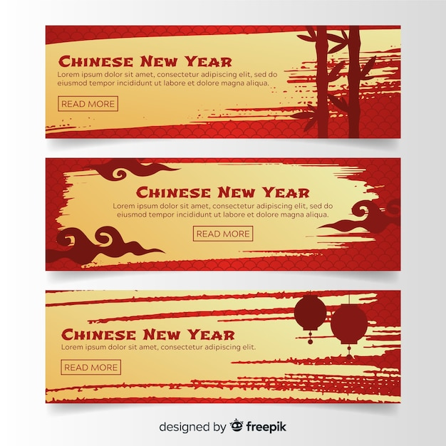 2019 chinese new year online banners Free Vector