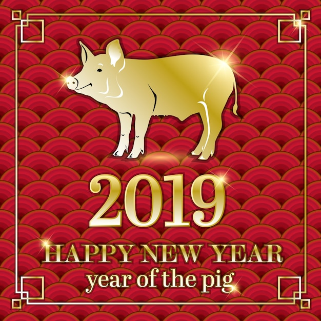 2019 chinese new year. year of the pig. gold on red. Premium Vector
