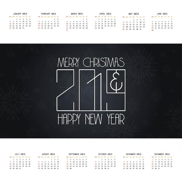 2019 christmas calendar design vector Free Vector