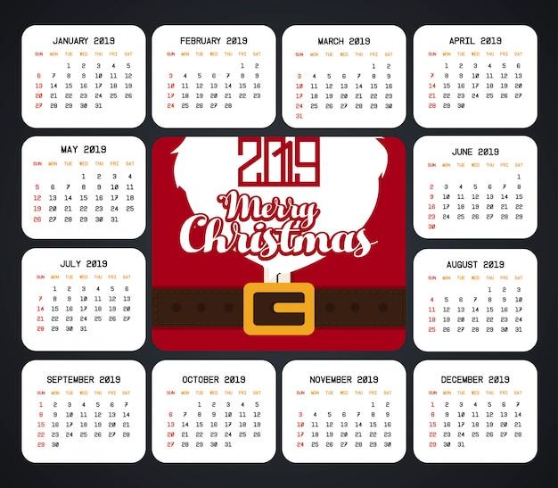 Christmas 2019 Calendar.2019 Christmas Calendar Design Vector Vector Premium Download