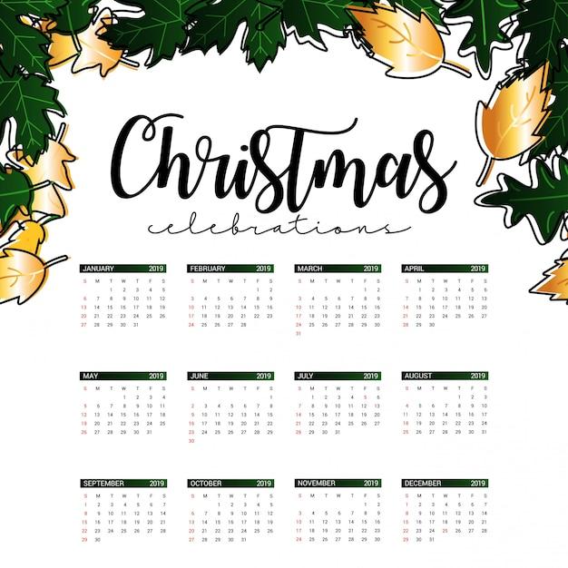 Christmas 2019 Calendar.2019 Christmas Calendar Design Vector Premium Download