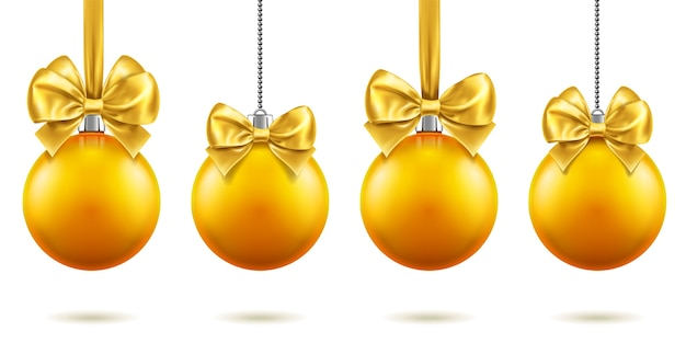 2019 christmas or new year realistic toys with bows hanging on chains. merry christmas fir tree decorations, golden baubles with bow-knots, golden spheres for xmas holidays. celebration theme Premium Vector