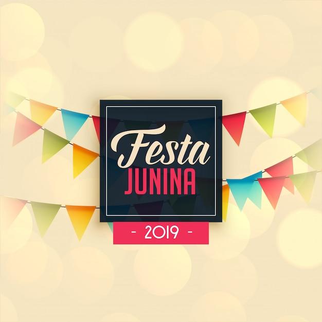2019 festa junina celebration background Free Vector