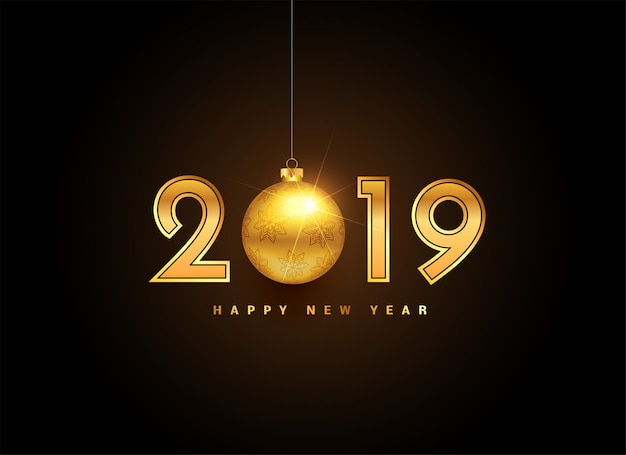 2019 golden new year lettering with christmas ball Free Vector