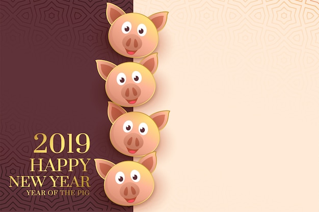 2019 happy chinese new year template with pig faces Free Vector