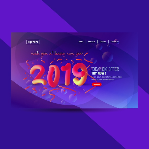 2019 happy new year abstract background Premium Vector