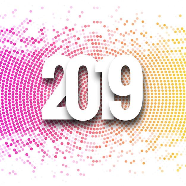 2019 happy new year background creative design vector Free Vector