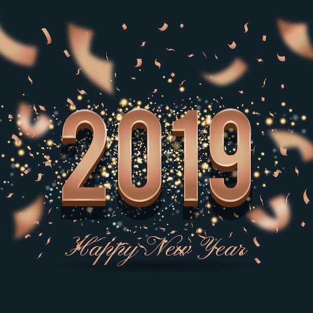 2019 happy new year celebration backround design Premium Vector