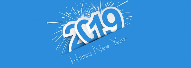 2019 happy new year colorful celebration banner free vector
