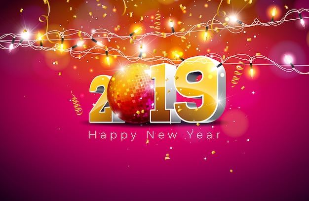 2019 happy new year illustration with 3d gold number Premium Vector