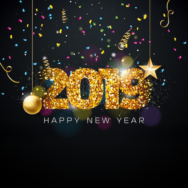 2019 happy new year illustration Premium Vector