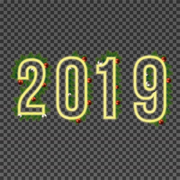 2019 happy new year neon text on transparent background premium vector