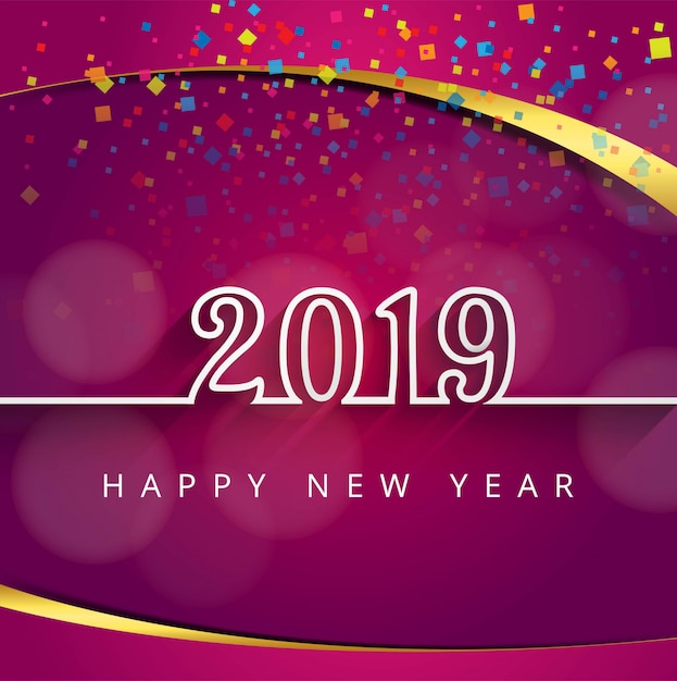 2019 happy new year text colorful shiny background Free Vector