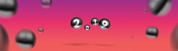 2019色とりどりのクリスマスボールや抽象的なボールや泡のような新年。 Premiumベクター