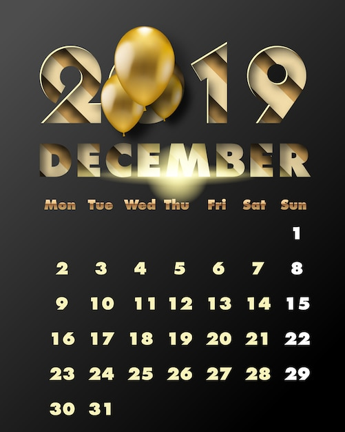 December 2019 Calendar Cut 2019 happy new year with gold paper cut art and craft style