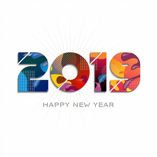 2019 happy new year Premium Vector