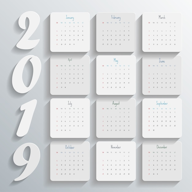 2019 modern calendar template .vector/illustration. Premium Vector