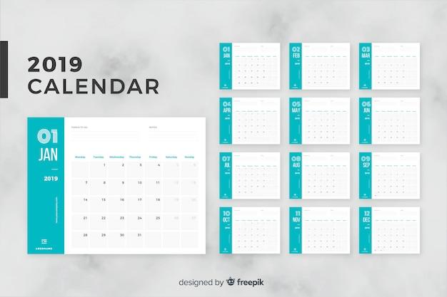 Календарь на 2019 месяц Бесплатные векторы