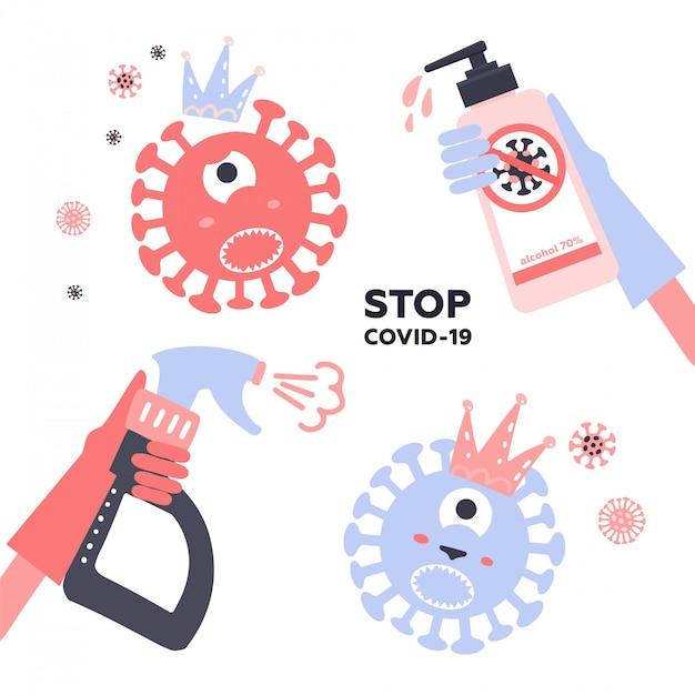 消毒コロナウイルスのセット。 2019-ncovを停止します。手袋スプレーを手にすると、消毒剤ボトルでウイルス細菌のキャラクターが殺されます。消毒液。ベクトルchidishイラスト。予防流行。 Premiumベクター