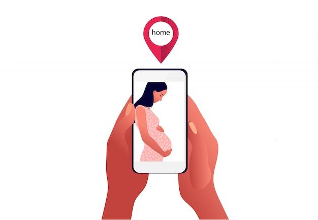 2019-нков карантин. грустно беременная женщина на экране телефона. семья врозь. коронавирусная паника. любители друг от друга. изолированная иллюстрация больного человека. Premium векторы
