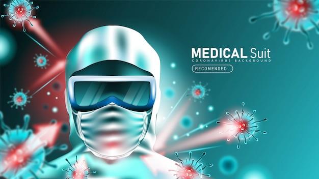 コロナウイルスから保護するための医療スイートまたは保護服2019-ncov 無料ベクター