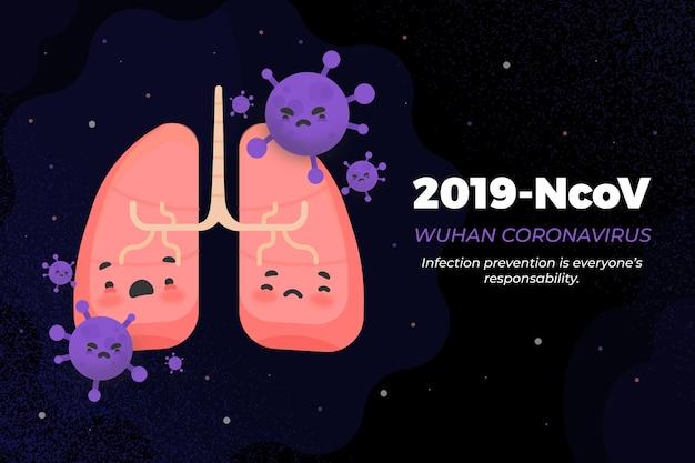 2019-ncovコンセプト肺と細菌 無料ベクター