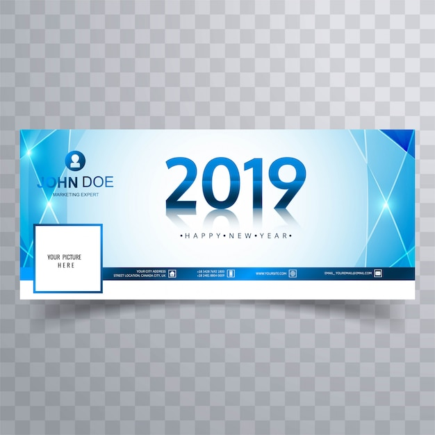 2019 New Year Facebook Cover Banner Template Design Vector Free