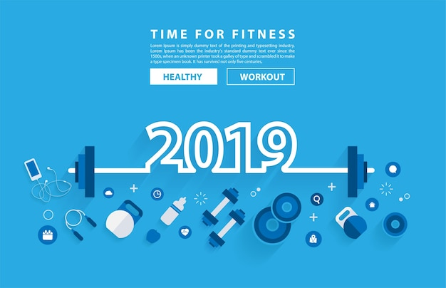 2019 new year fitness concept workout typography alphabet Premium Vector