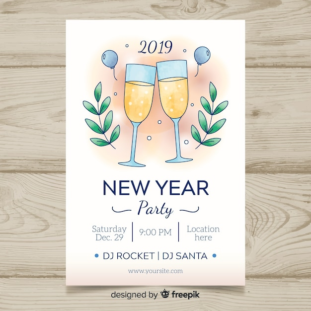 2019 New Year Party Banner Template Vector Free Download