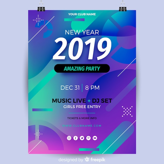 2019 new year party banner Free Vector