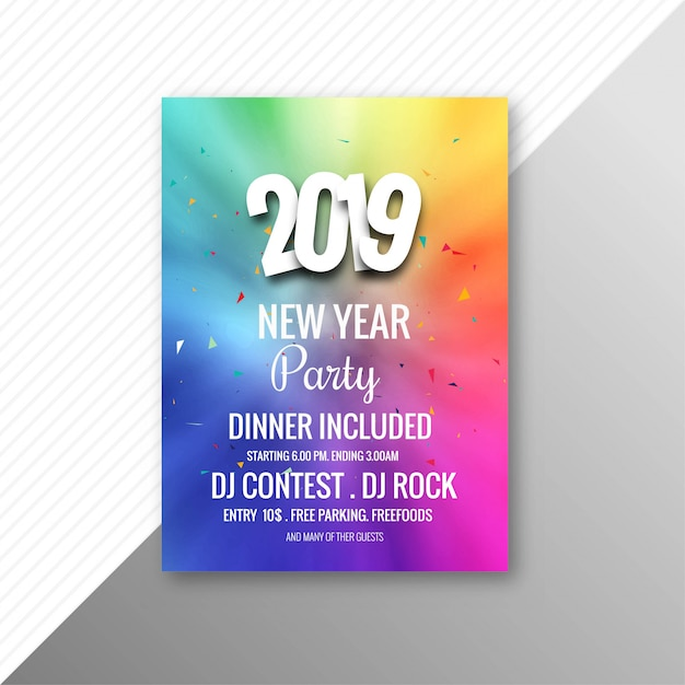 2019 new year party brochure celebration template free vector