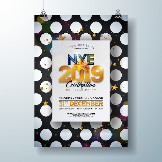 2019 new year party celebration poster template premium vector