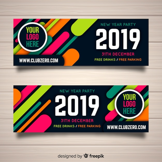 2019 new year party flyer Free Vector
