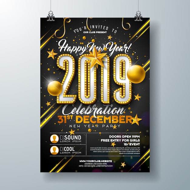 2019 new year party poster template with lights bulb number Premium Vector