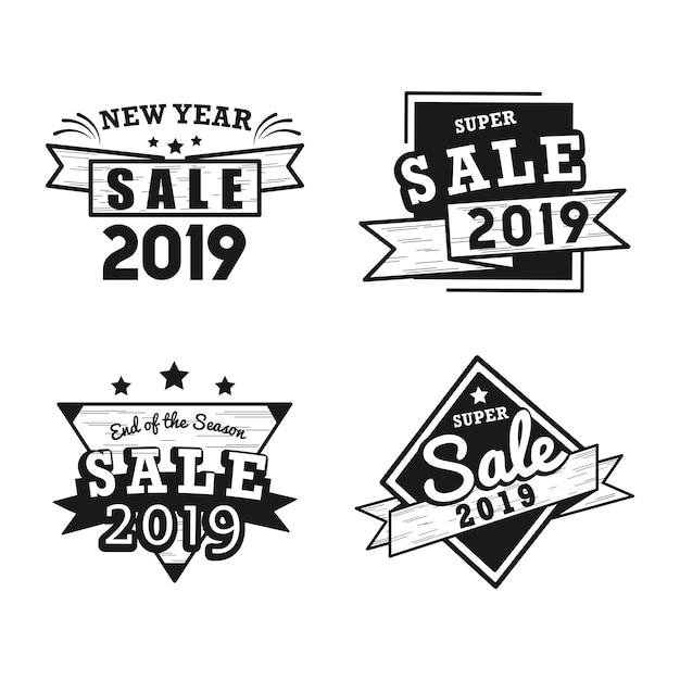 2019 new year sale badge vector set Free Vector