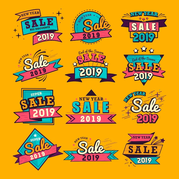 2019 new year sale badge vector set Free Vector