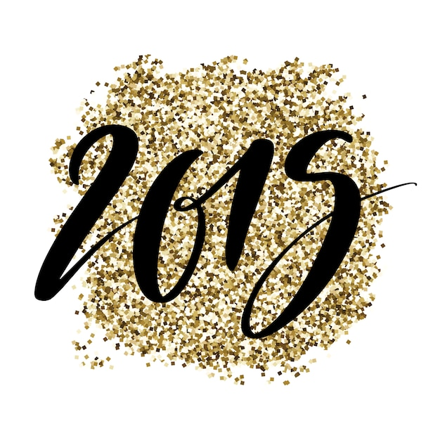 2019 numbers on golden glitter background. Premium Vector