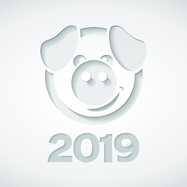2019 and pig cut out of paper style. Premium Vector
