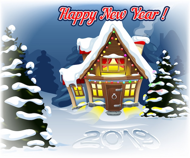 2019 in the snow with a new year's landscape Premium Vector