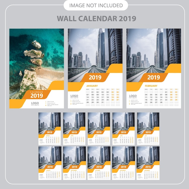 2019 Wall Calendar Planner Template Vector Premium Download